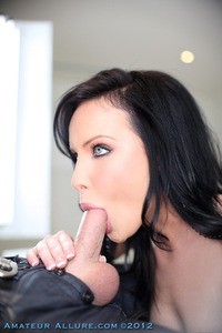 Blue eyed girl giving blowjob