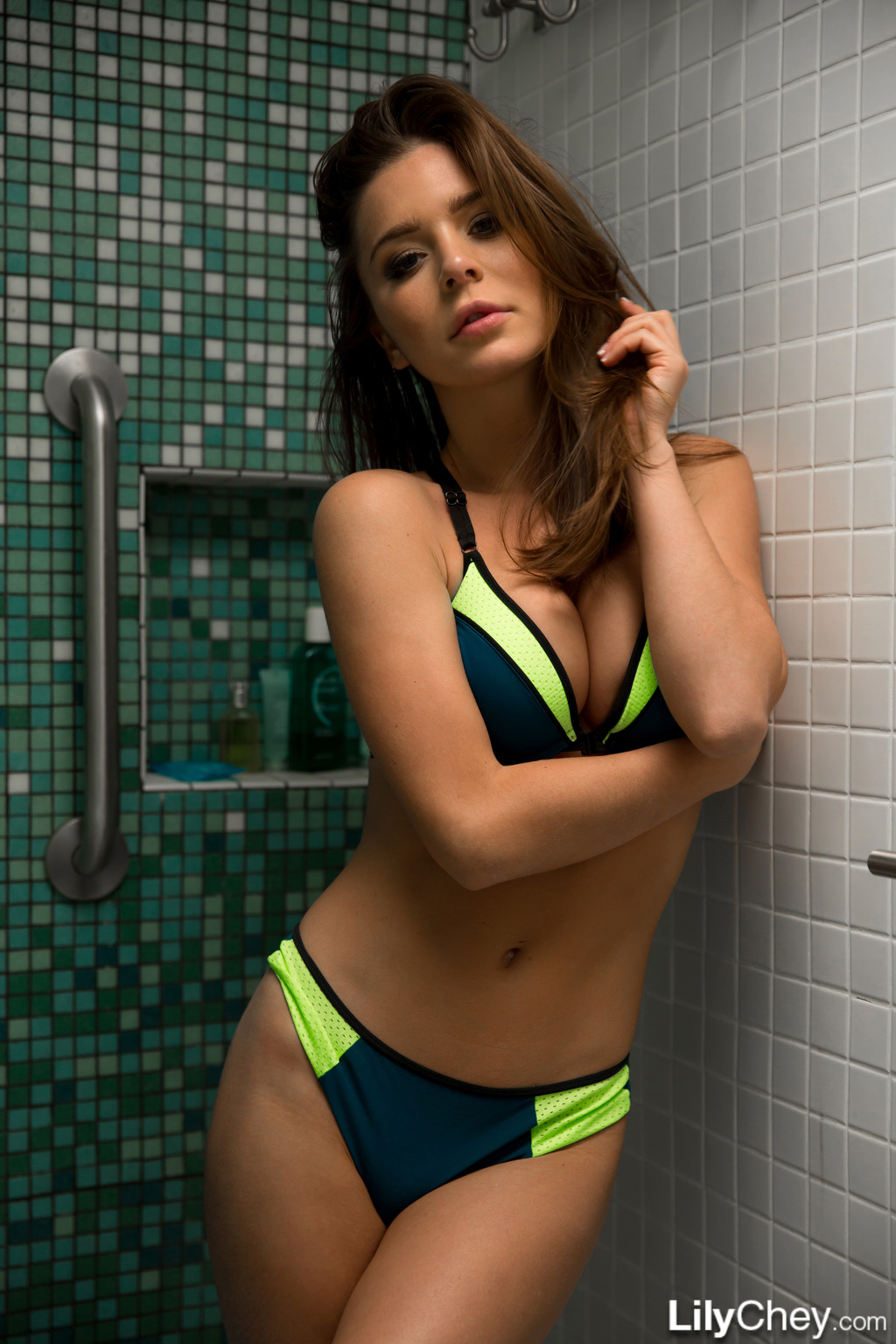 Lily Chey In Bikini Shower 07