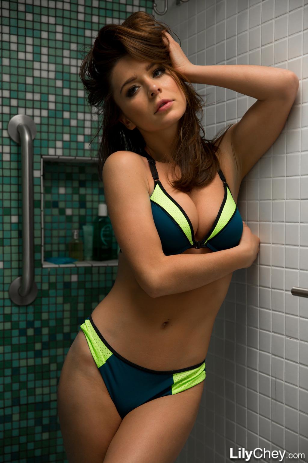 Lily Chey In Bikini Shower 09