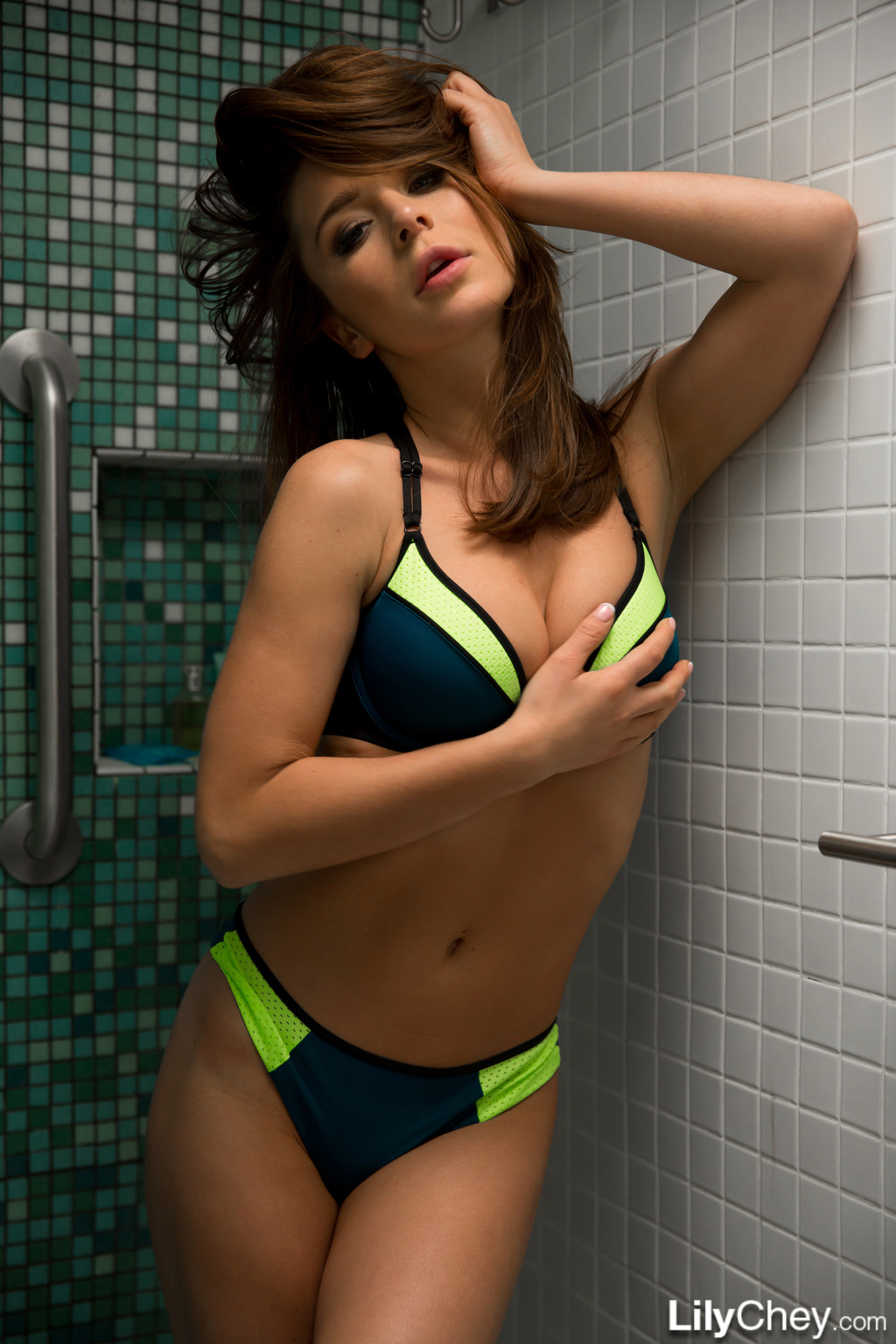Lily Chey In Bikini Shower 10