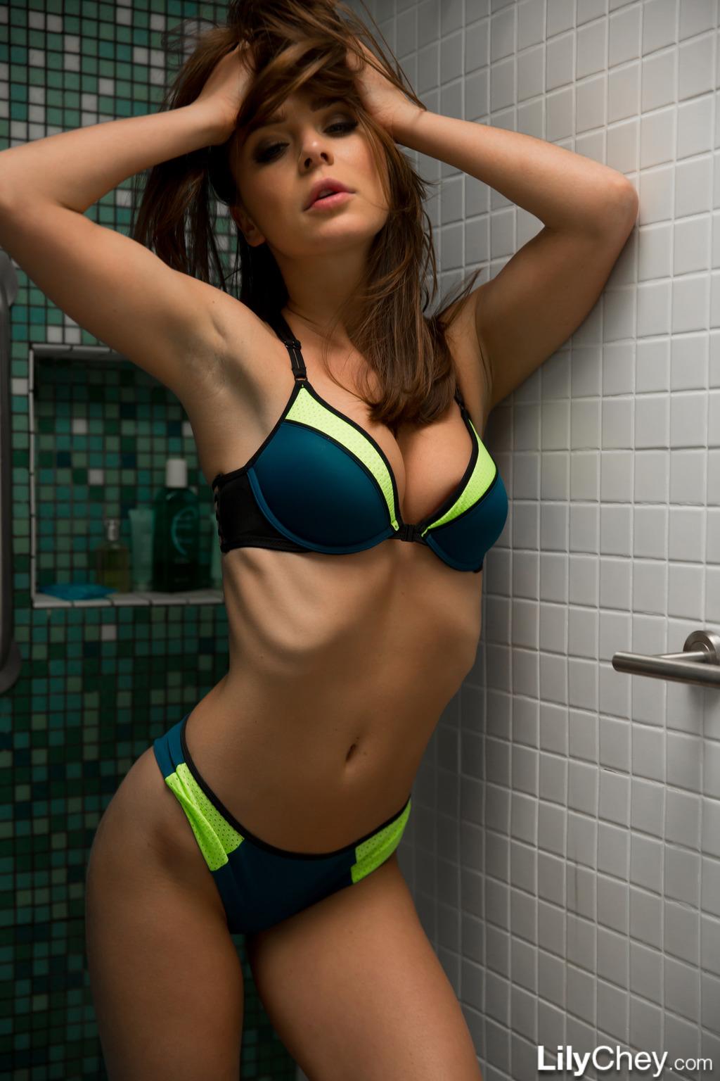 Lily Chey In Bikini Shower 11