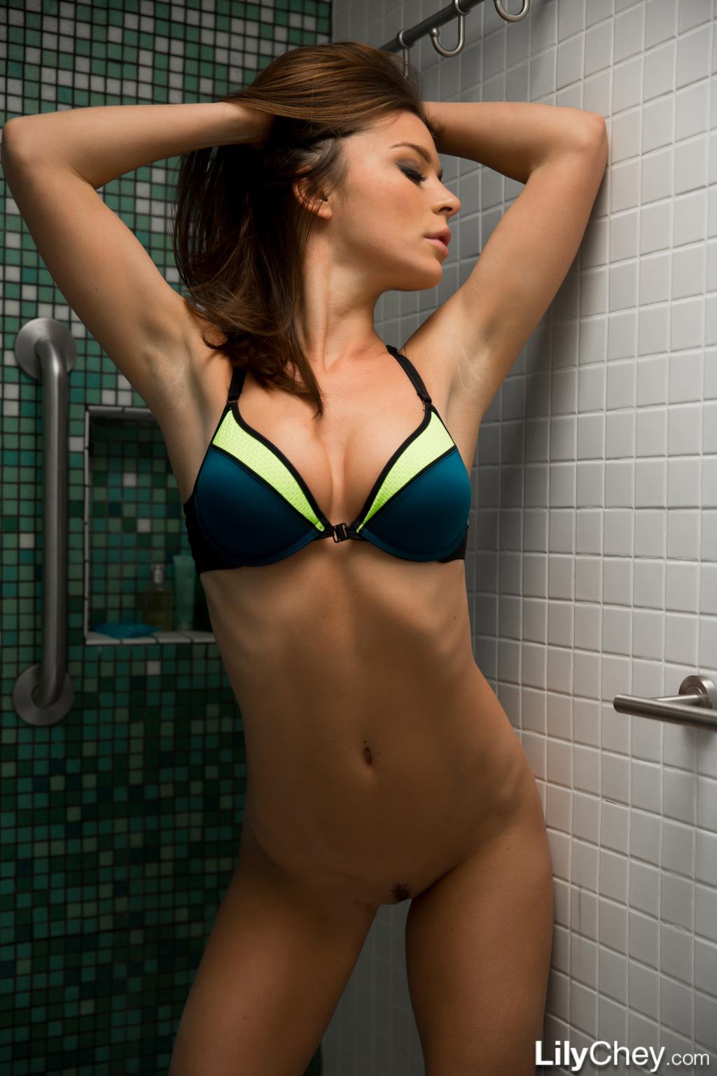 Lily Chey In Bikini Shower 14