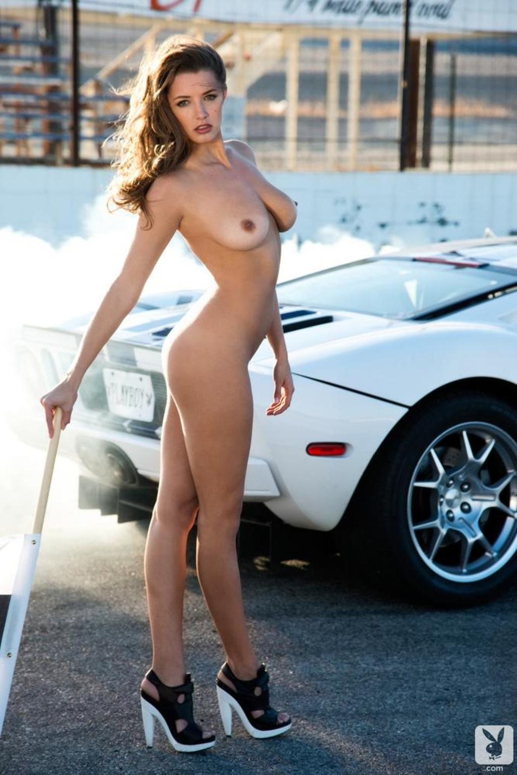 alyssa arce naked in a white ford race car - picture 13 / 16