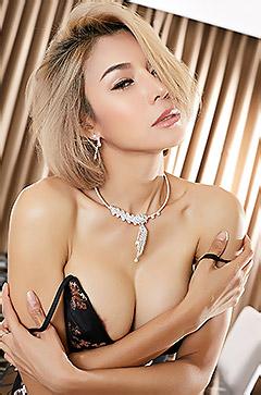 Blonde Asian In Black Lingerie